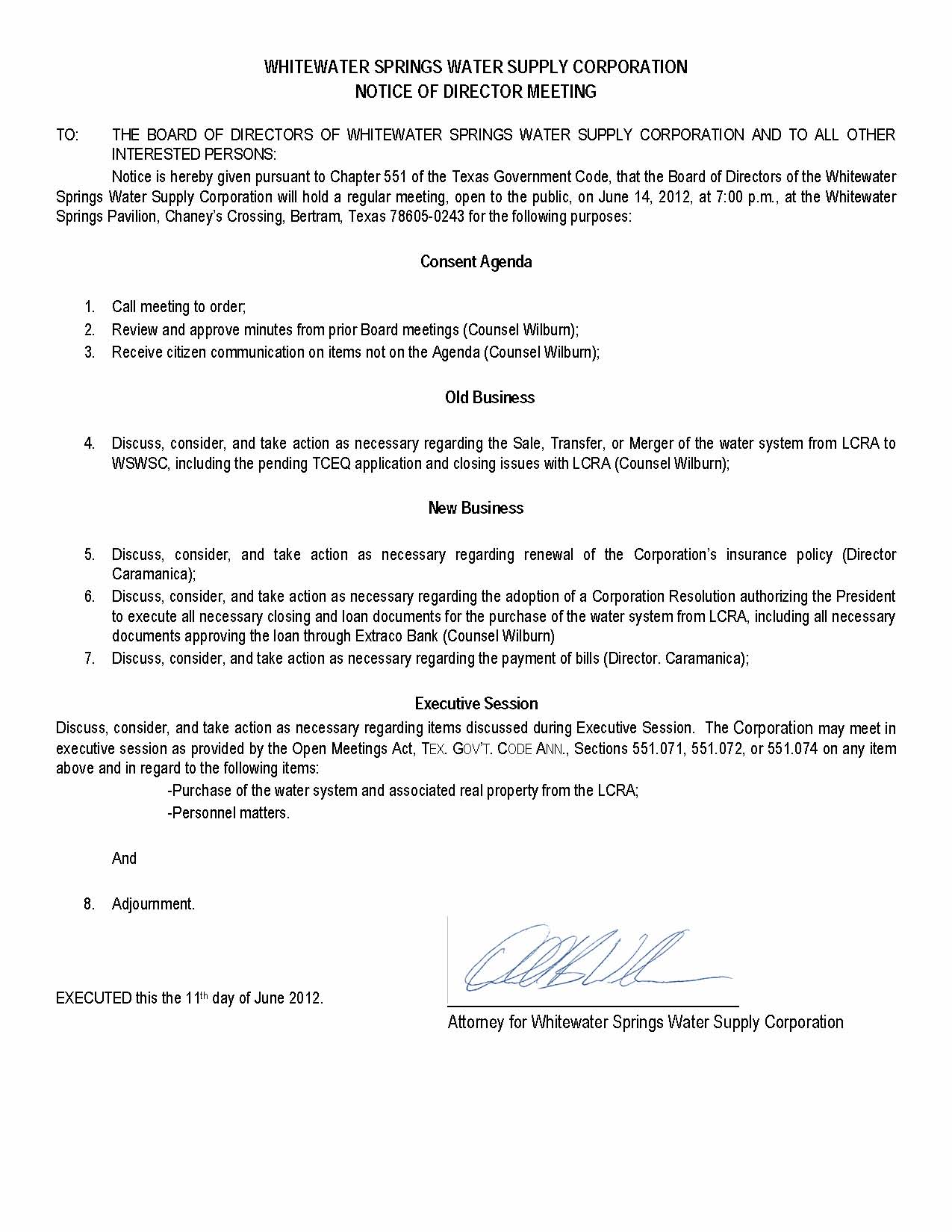 June 14 2012 meeting agenda for Notice of board meeting template